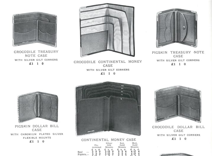 Men's leather wallets as shown in a 1930s Asprey catalogue