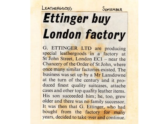 Gerry Ettinger buys London leather factory