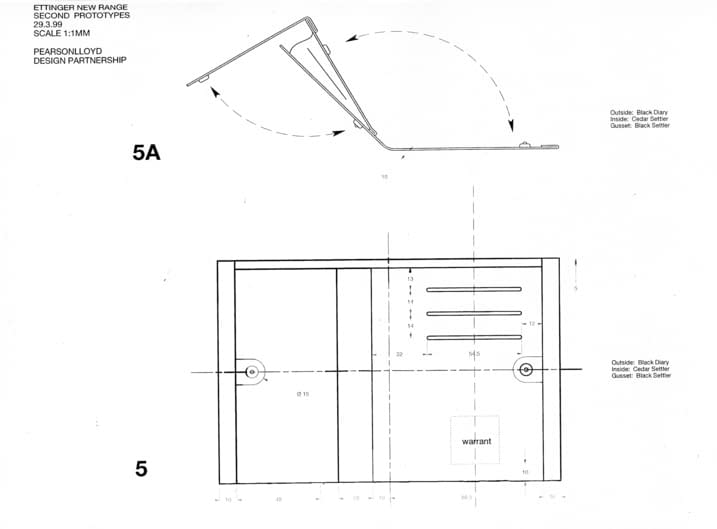 technical design drawings for TT leather purse by Pearson-Lloyd