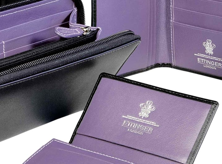 Purple leather wallets and purses