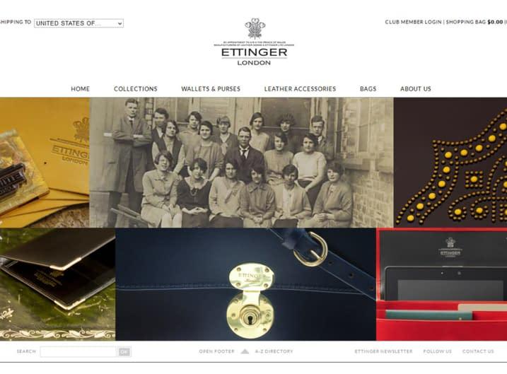 A snapshot of Ettinger's new website in 2012